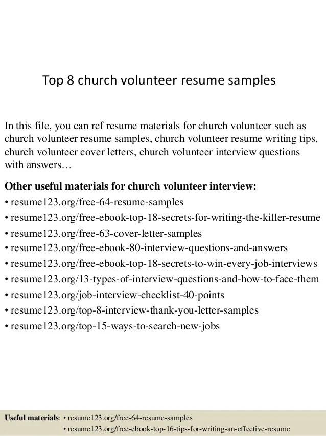 church volunteer resume - Boatjeremyeaton - church volunteer sample resume