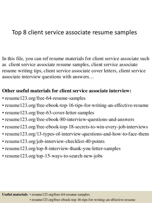 client service associate resume - Goalgoodwinmetals