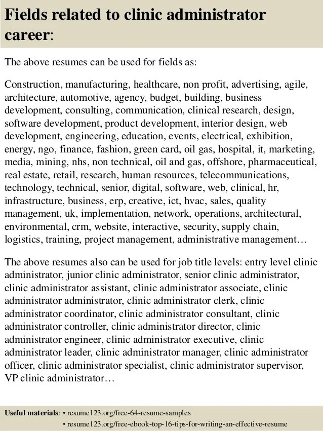 clinic manager resume - Goalgoodwinmetals - clinic administrator sample resume