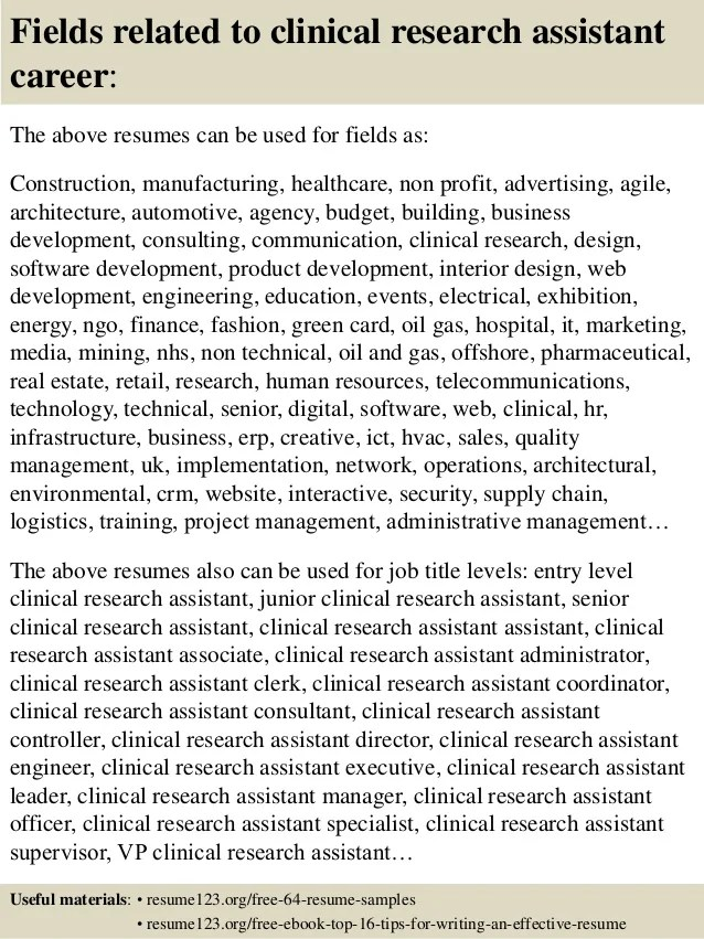 Top Rated Resume Samples For 5000 Titles Jobhero Top 8 Clinical Research Assistant Resume Samples