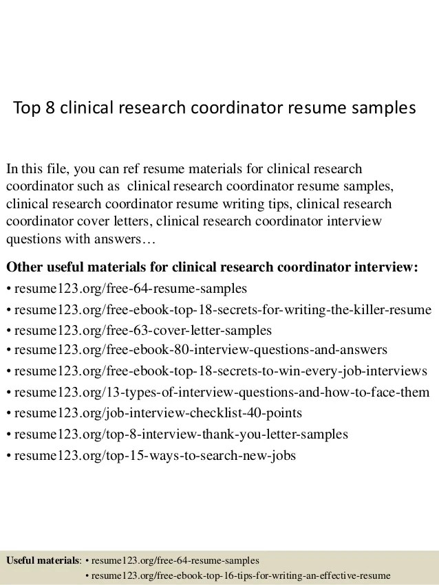research coordinator resume example