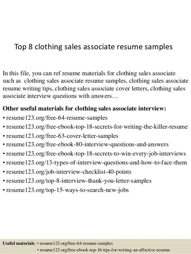 clothing sales associate resumes - Romeolandinez