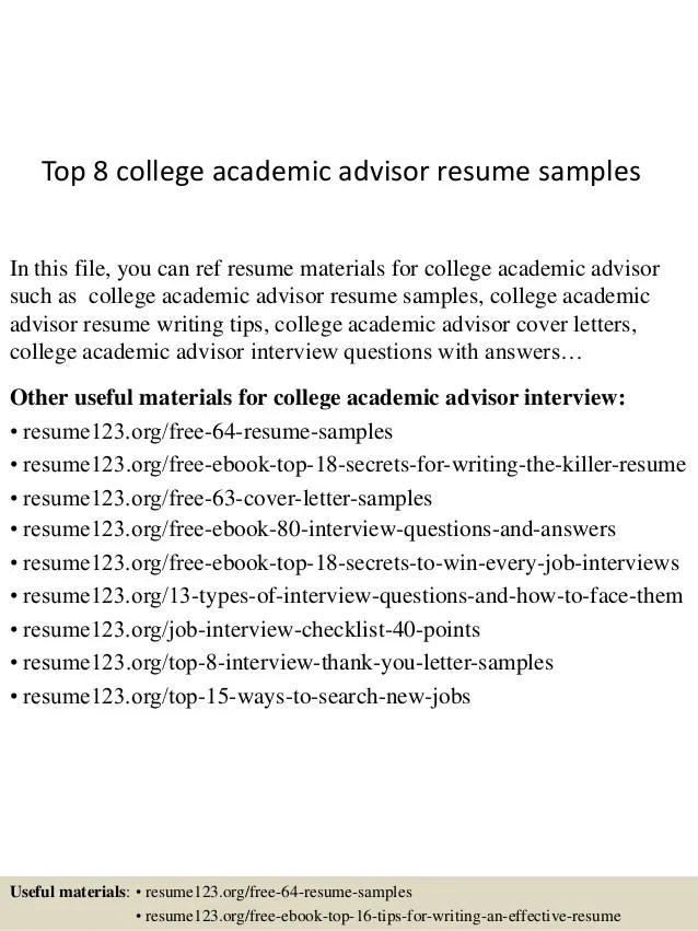 resume profile examples academic advisor