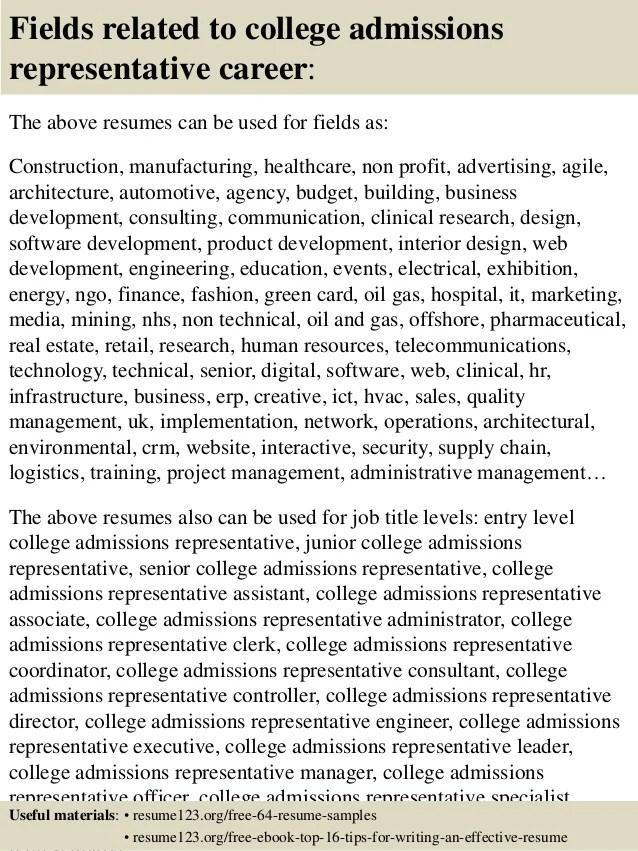 admissions representative resumes