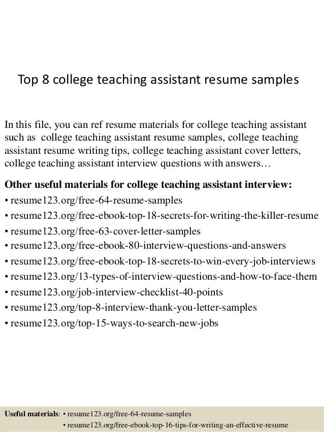 resume for teaching assistant - Holaklonec