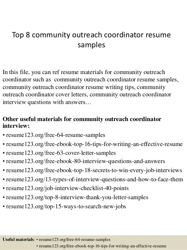 community outreach coordinator resume sample