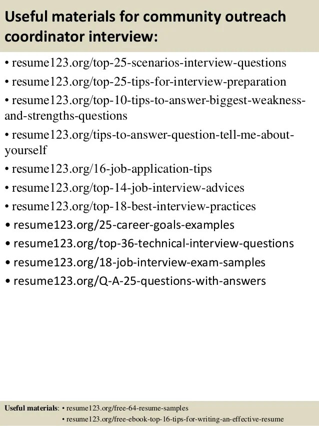 outreach coordinator resume examples