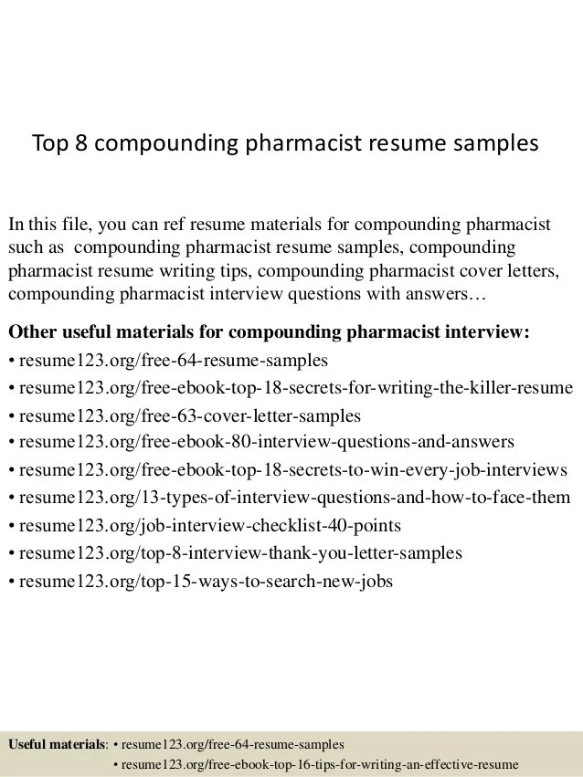 top 8 compounding pharmacist resume samples