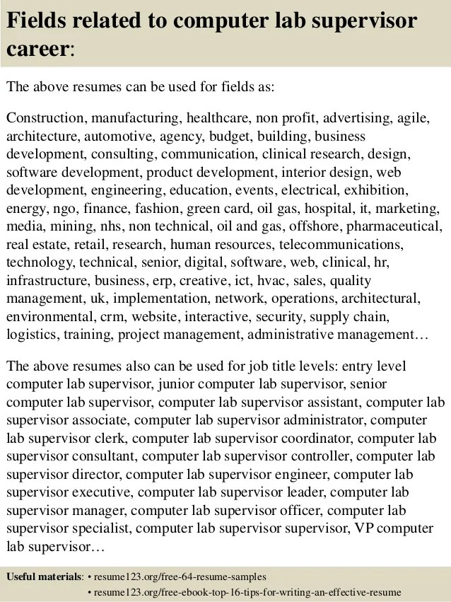 Computer lab manager cover letter - computer lab manager sample resume