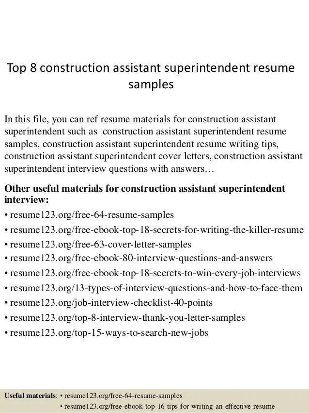 sample resume construction specialist