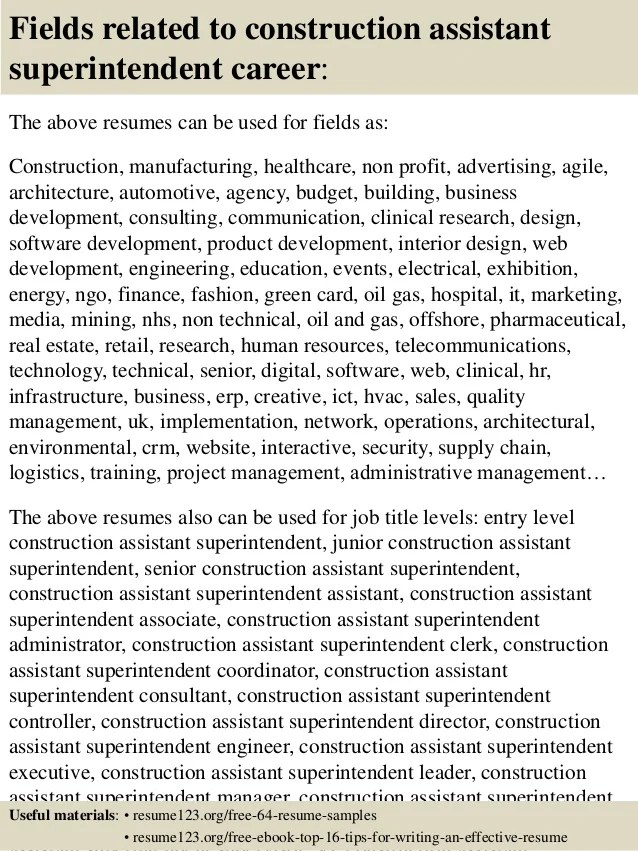construction superintendent resumes sample - Minimfagency - sample superintendent resume
