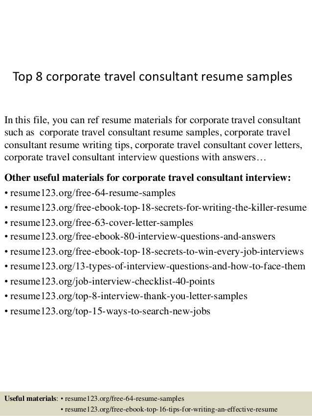 sample travel management resume