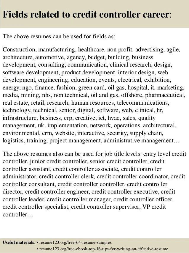 Free Resume Samples Writing Tips Livecareer Top 8 Credit Controller Resume Samples
