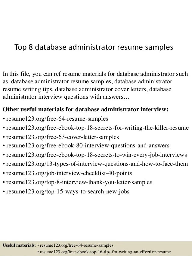 sample resume for database administrator - Canasbergdorfbib
