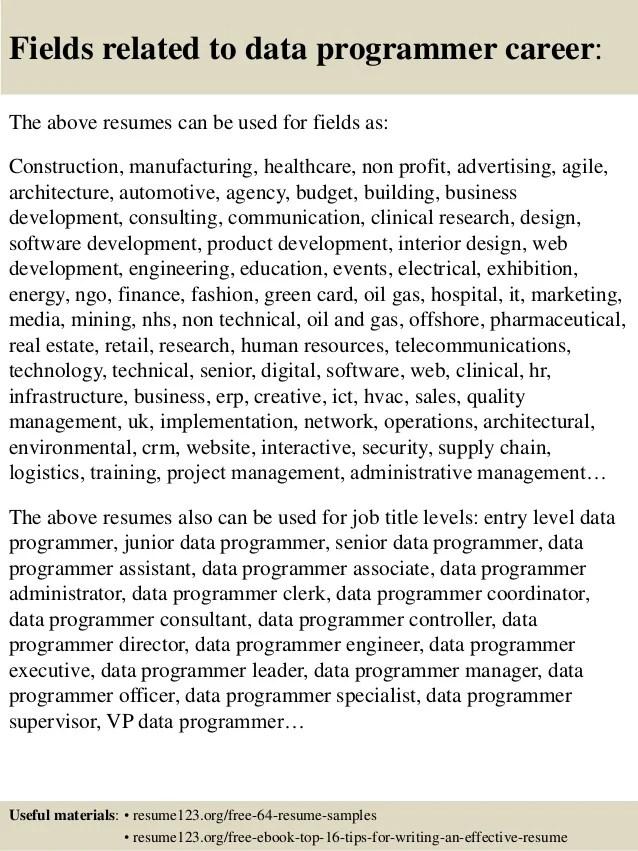 sample resume for computer programmer - Canreklonec