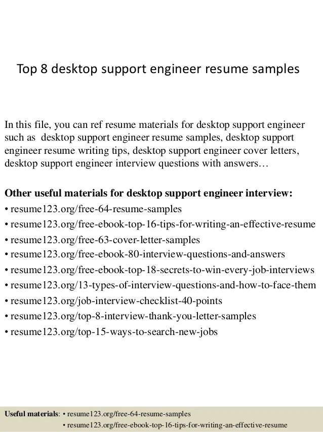 desktop support engineer sample resume - Ozilalmanoof