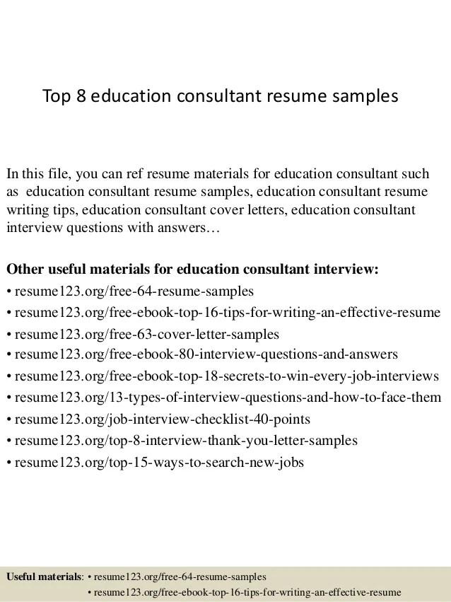 education consultant resumes - Josemulinohouse