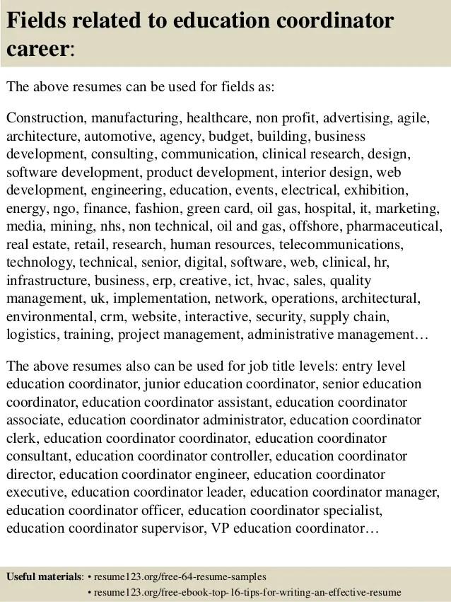 education coordinator resumes - Onwebioinnovate