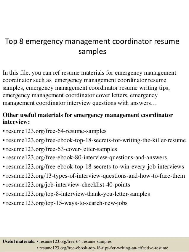 400 Resume Format Samples Freshers Experienced Top 8 Emergency Management Coordinator Resume Samples