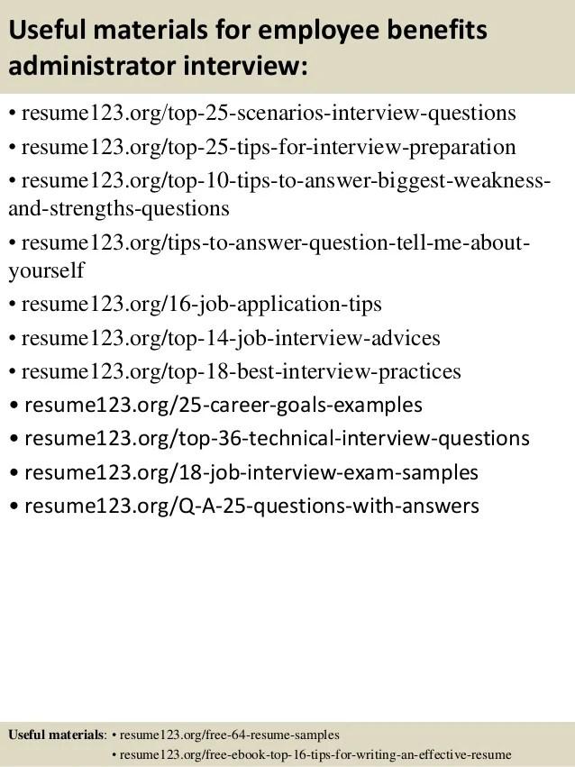 sample benefits administrator resume - Pinarkubkireklamowe