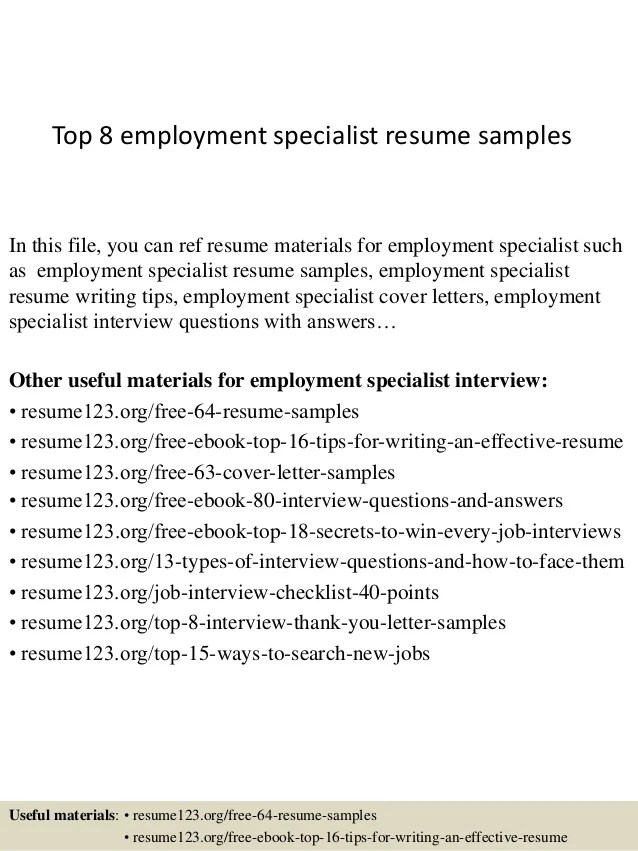 Sales Representative Resume Sample Job Interview Top 8 Employment Specialist Resume Samples