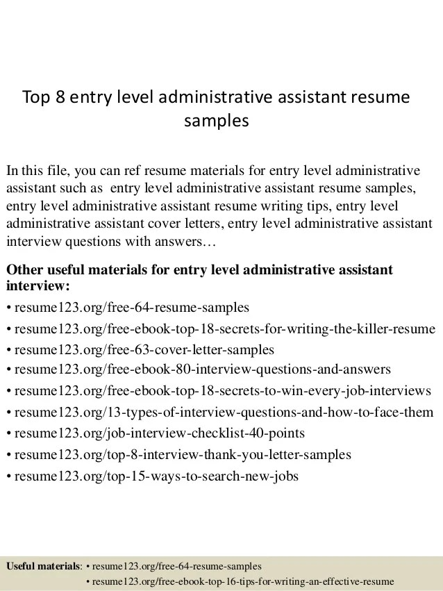 entry level administrative assistant resume sample - Akbagreenw