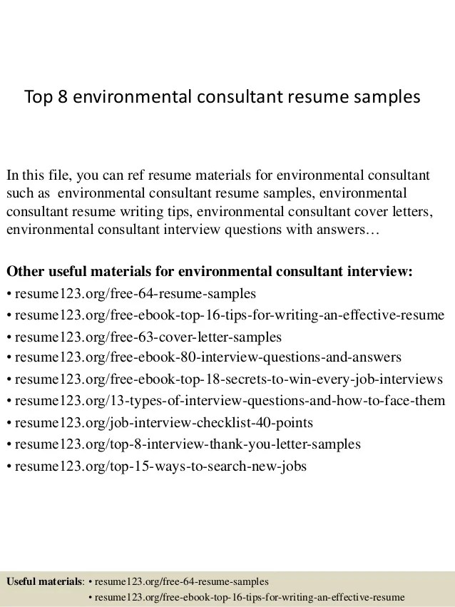 environmental consultant resume objective
