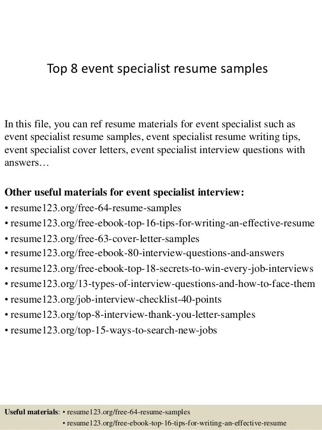 event specialist cover letter - Narcopenantly