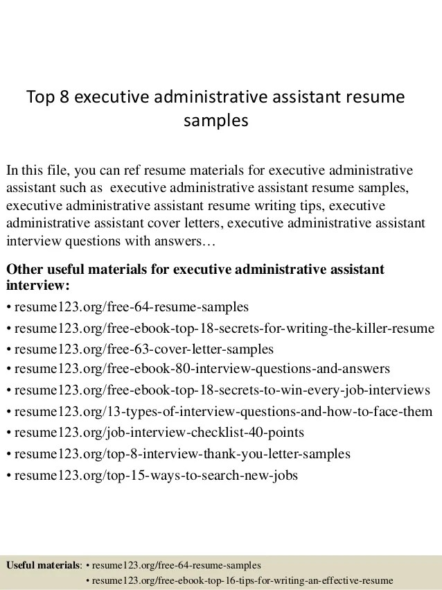 Resume Examples Cover Letter Samples Career Advice Top 8 Executive Administrative Assistant Resume Samples