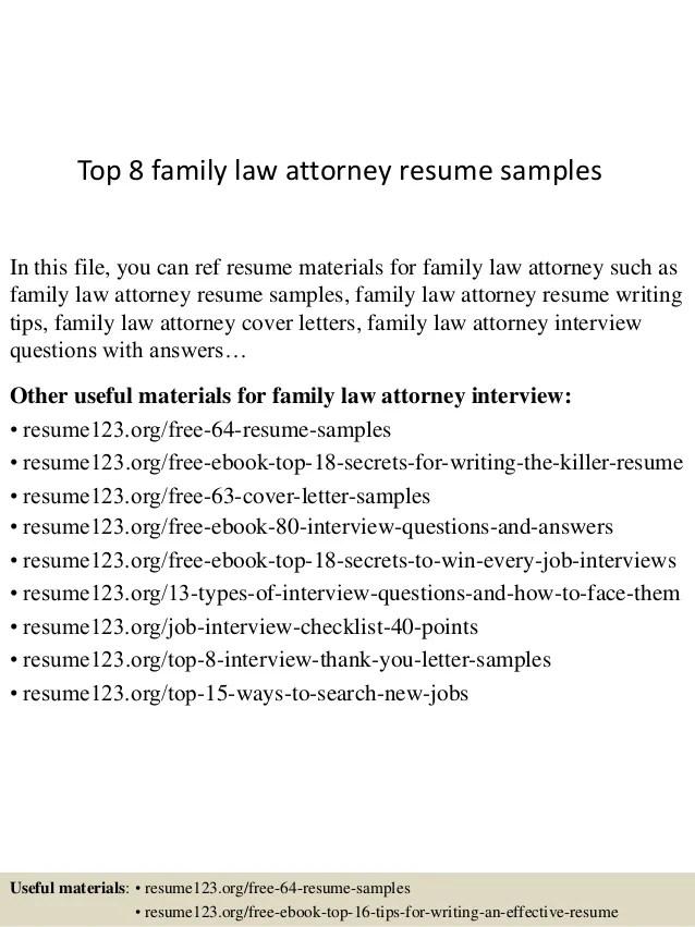 family lawyer resume sample