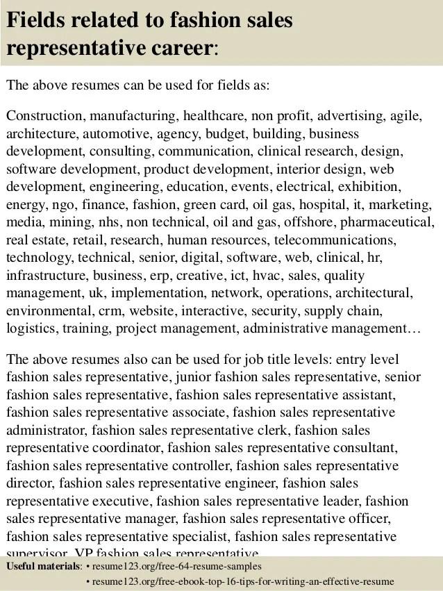 fashion sales resumes - Ozilalmanoof