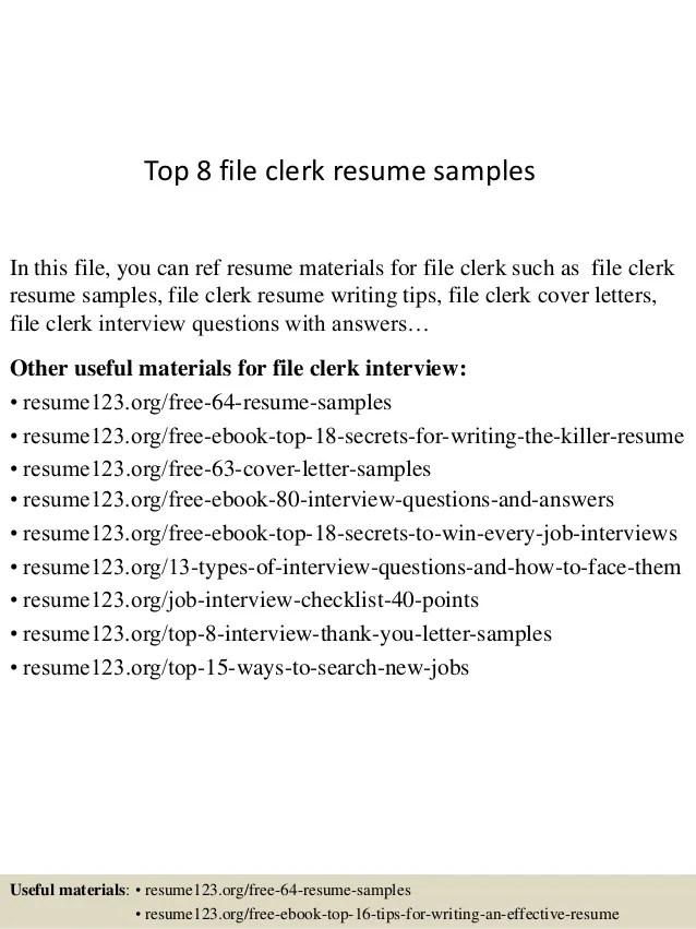 file clerk sample resumes - Intoanysearch