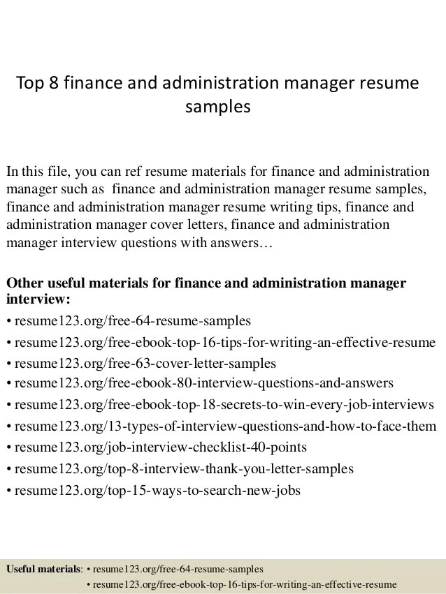 finance and administration manager cv