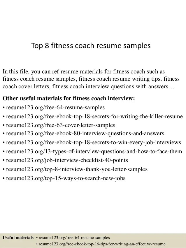 resume format for gym coach