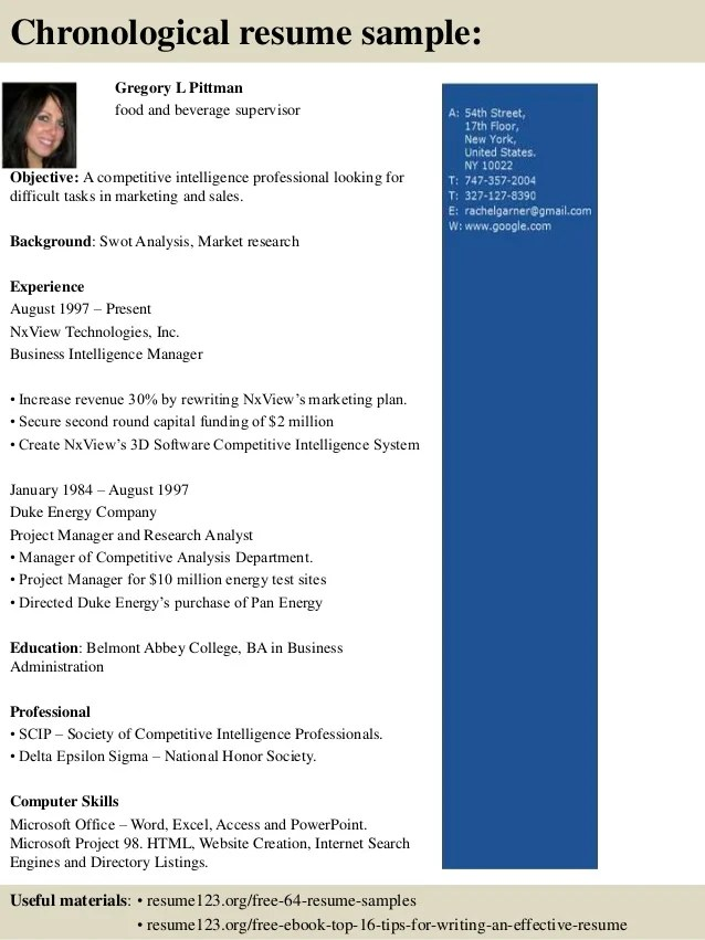 Resume For Jobs Sample Resumes Top 8 Food And Beverage Supervisor Resume Samples