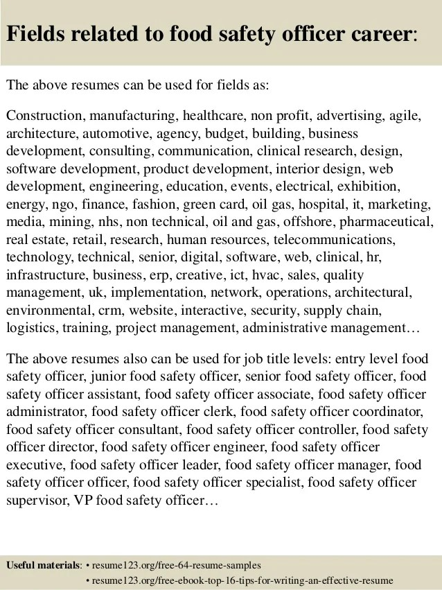 Top 8 Construction Safety Officer Resume Samples Slideshare Top 8 Food Safety Officer Resume Samples