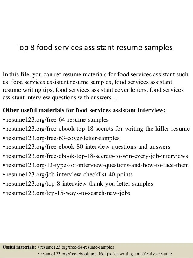 resume sample for food service radiovkm