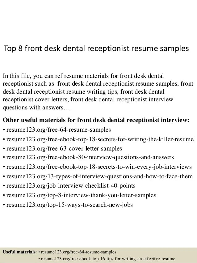 front desk clerk resume example