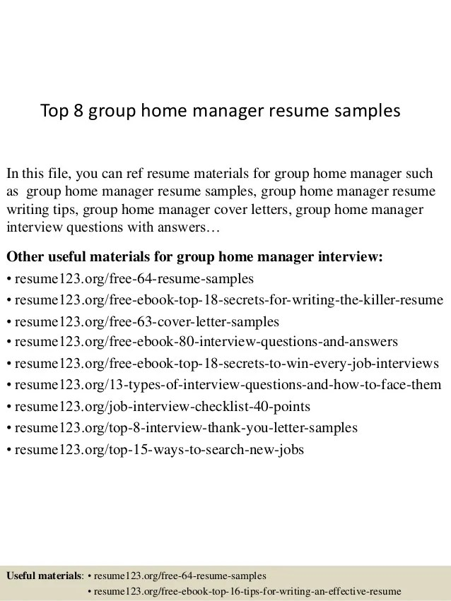 group home manager resume sample