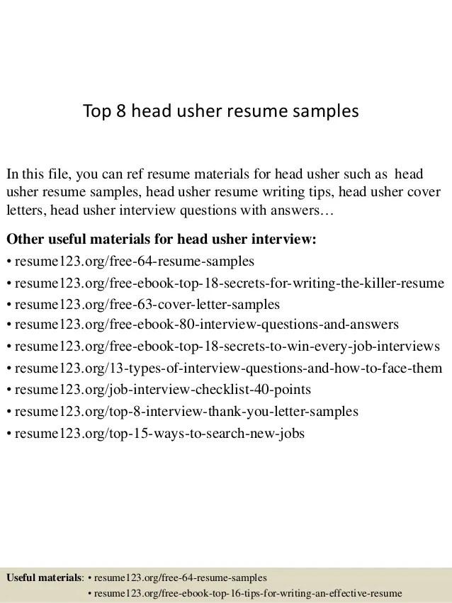 usher job description resume