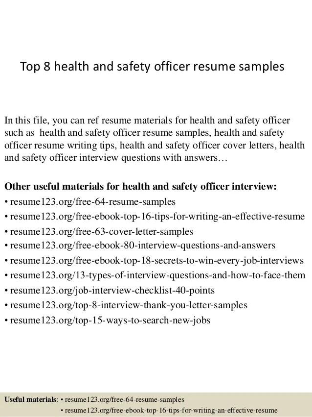 safety officer resume sample