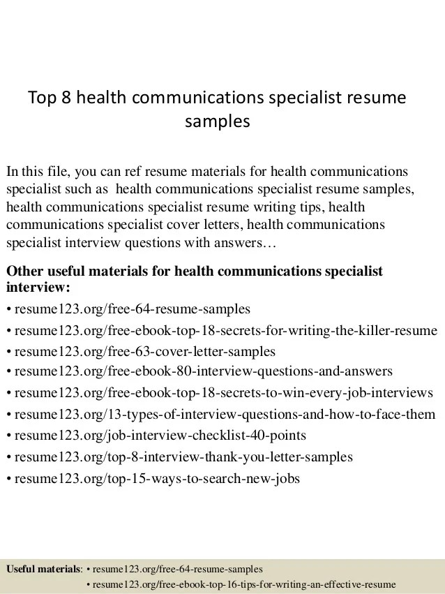 cover letter for communications specialist - Goalgoodwinmetals - health communication specialist sample resume