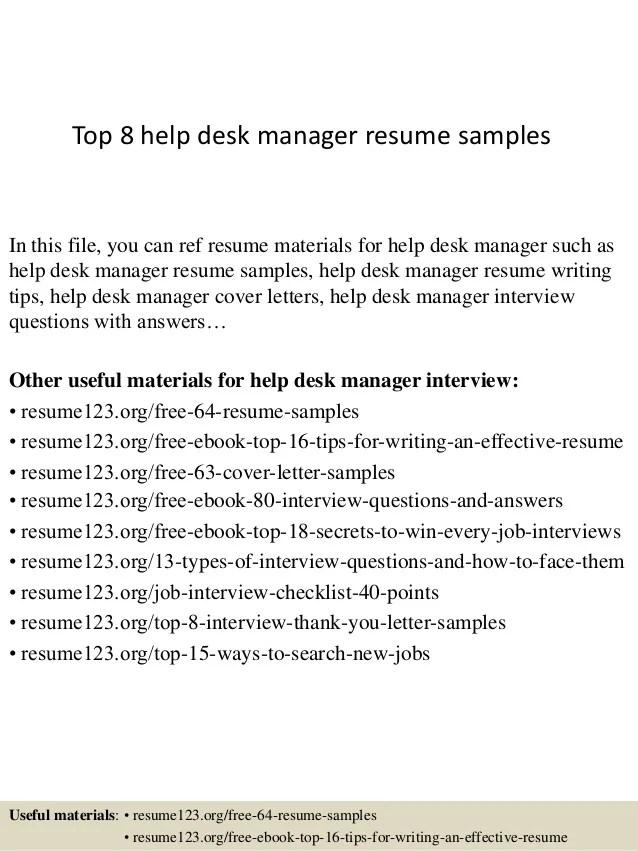 sample help desk manager resume - Selol-ink