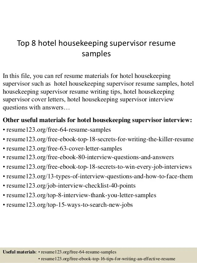 housekeeping supervisor resumes - Onwebioinnovate - Resume For Housekeeping