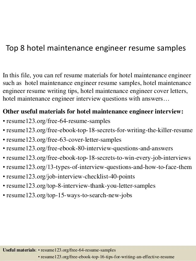 sample hotel maintenance resume - Minimfagency