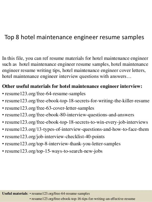 hotel engineer resume