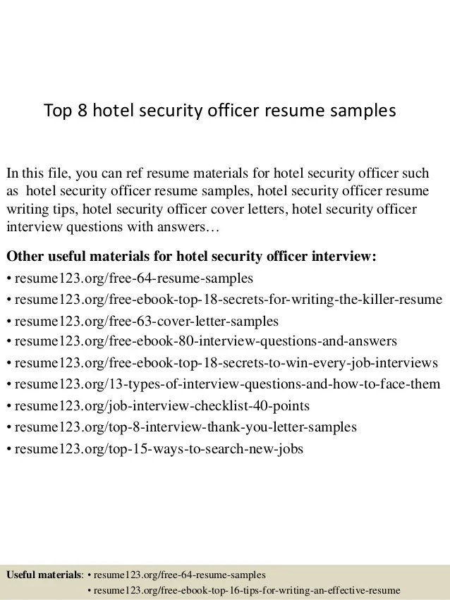 sample hotel security resume - Goalgoodwinmetals