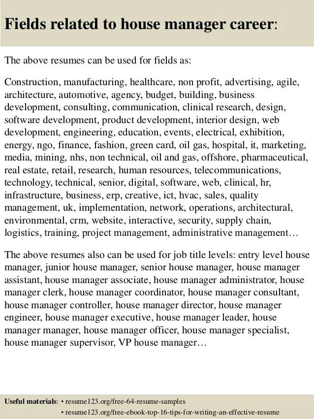 household manager resume - Onwebioinnovate