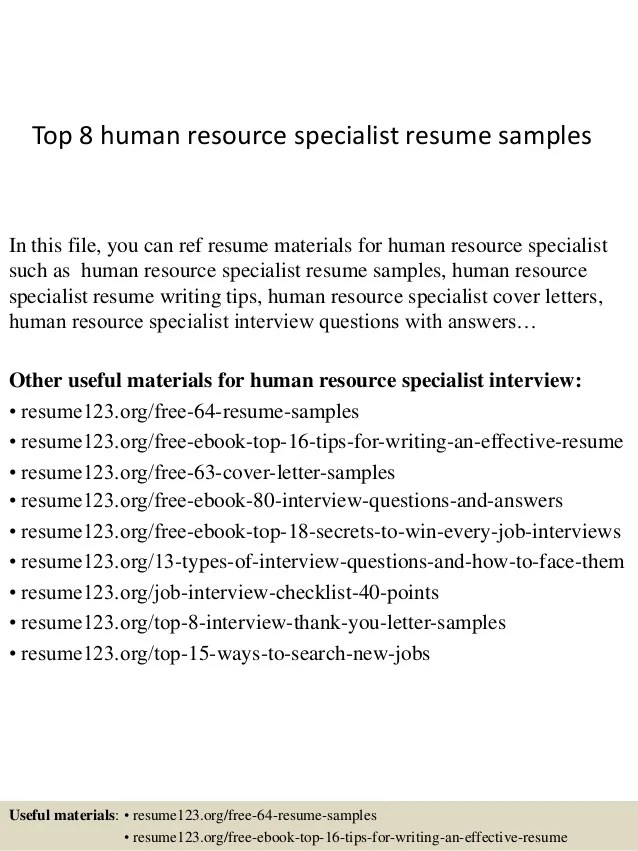 sample of human resource resume