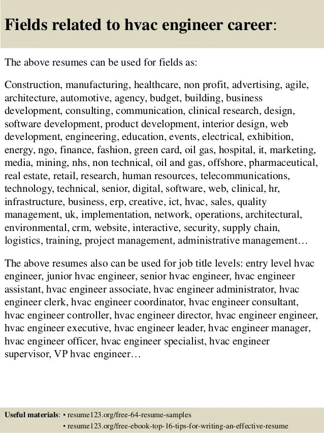 Free Resume Samples Blue Sky Resumes Top 8 Hvac Engineer Resume Samples